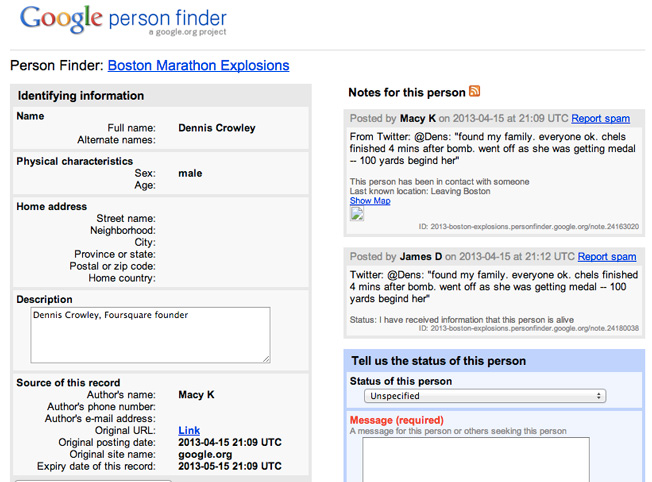 google s person finder connects boston marathon victims loved ones