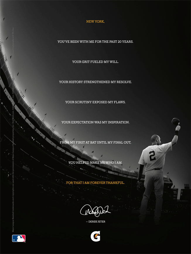 ae8a70659895f5 Ad of the Day  Gatorade s Epic Farewell to Derek Jeter Will Be Tough ...