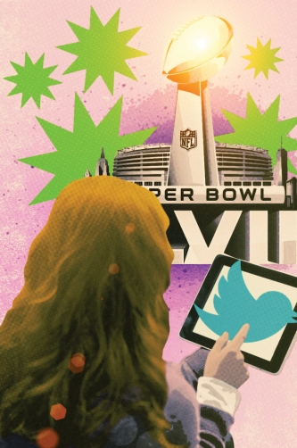 Back of girl's head as she uses Twitter on an iPad in front of a Super Bowl football stadium.