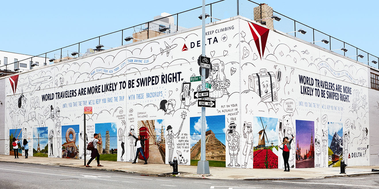 Delta Painted Exotic Locales On A Brooklyn Wall For Singles To Snap Selfies Like They Re World Travelers