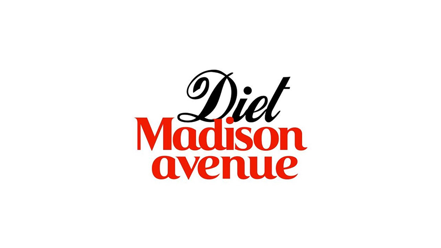 Black and red script reading Diet Madison Avenue.