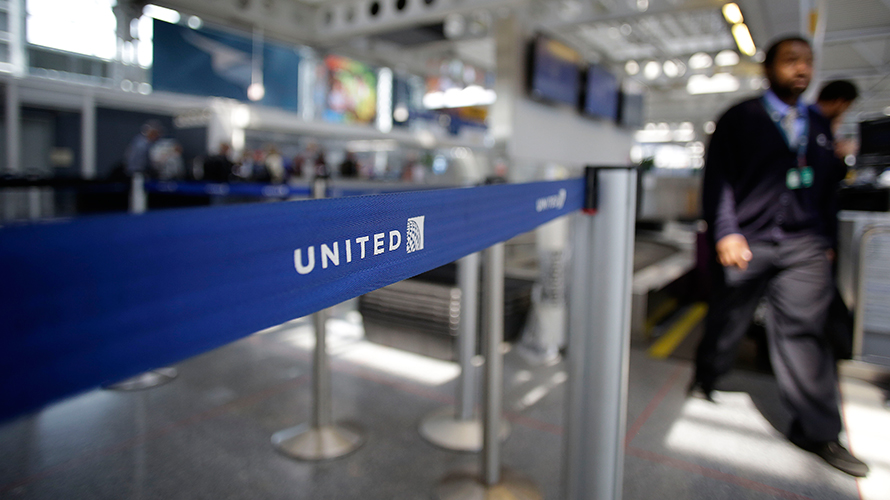 airport gates labeled with united airlines