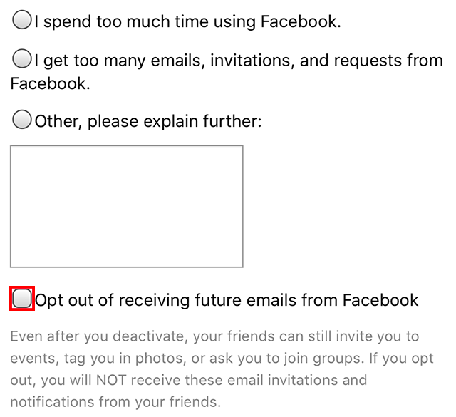 "The ""Opt out of receiving future emails from Facebook"" option is highlighted."