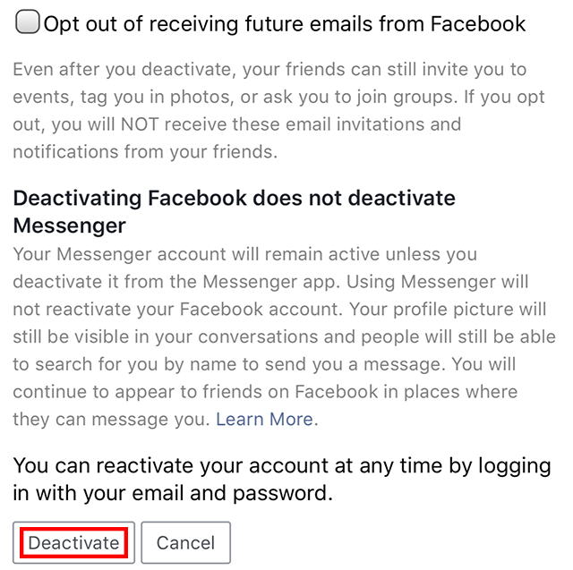 "The ""deactivate"" button is highlighted."