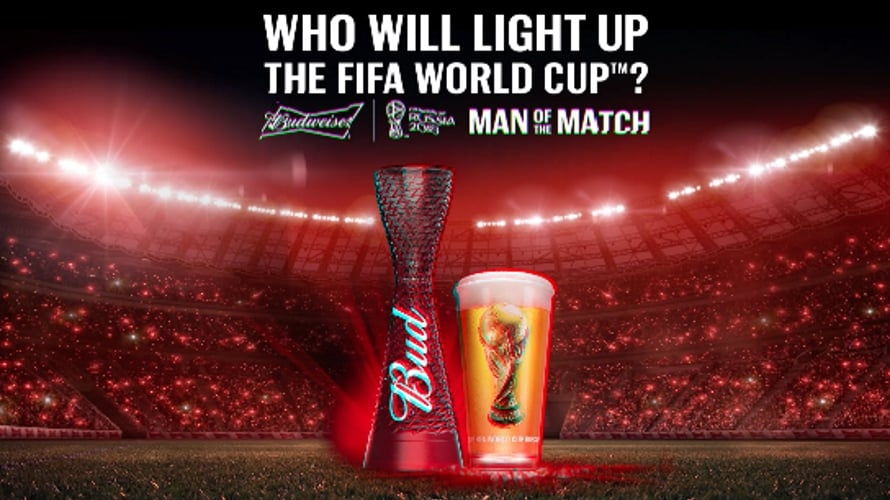 SPONSORED 4 x LIMITED EDITION BUDWEISER PLASTIC LIGHT UP RUSSIA 2018 WORLD C