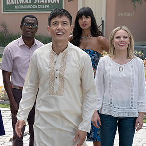 Photo of The Cast of The Good Place: Kristen Bell, Ted Danson, D'Arcy Carden, William Jackson Harper, Manny Jacinto, Jameela Jamil