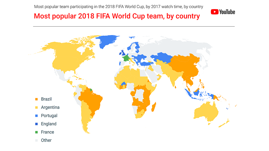 Youtube revealed the most popular teams and players ahead of 2018 youtube identified the most popular 2018 fifa world cup team in each country gumiabroncs Image collections