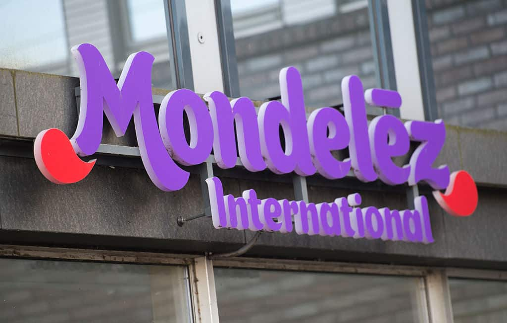 Signage for Mondelez International in purple letters