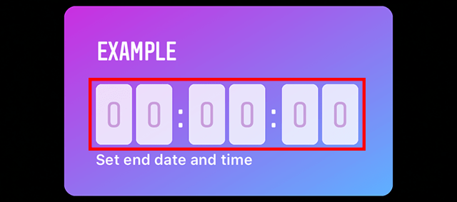 The digits for setting the end date and time are shown.