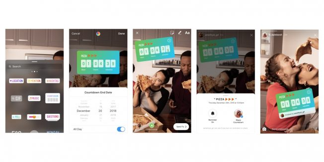 Various Instagram countdown stickers are shown.