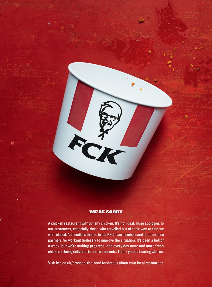 27947a369d443 A brilliant ad. A brilliant PR strategy. This print piece from London  agency Mother was a masterclass in both. When KFC s British operation faced  widespread ...