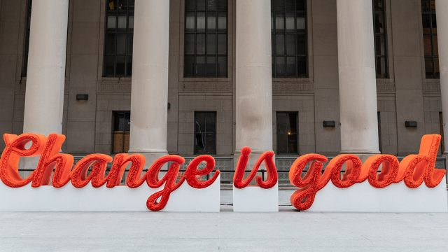 A&W's straw sculpture is on display in front of downtown Toronto's Union Station.