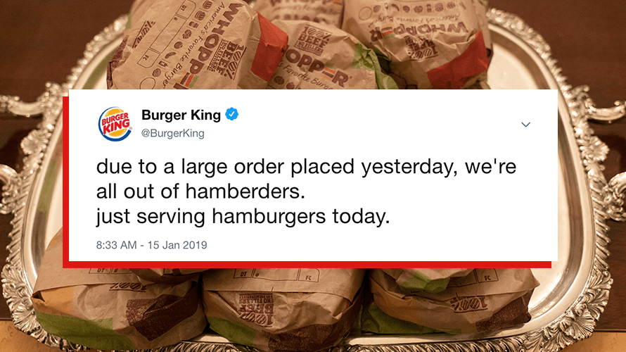 A tweet from Burger King targets President Trump in response to the government shutdown.