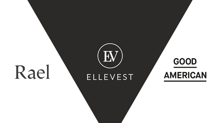 Upside down black triangle with the word Ellevest written in the middle; on the left of the triangle is Rael; on the right are the words Good American