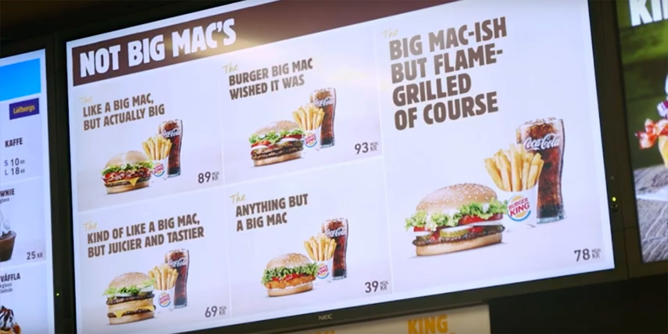 A Burger King menu with options for Not Big Macs.