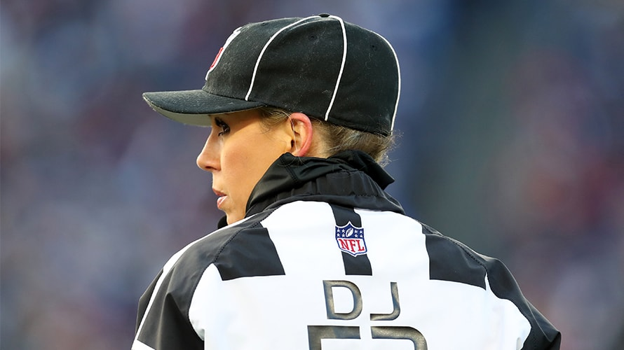 A picture of a woman referee in the NFL