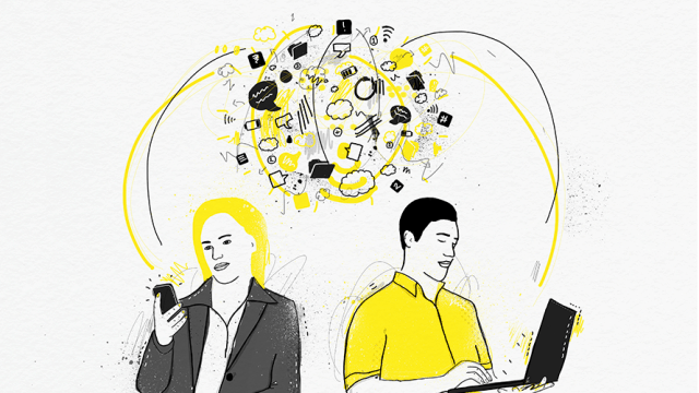 Illustration in black, white and yellow of two people. Person on the left is holding a phone; person on the right is using a laptop. Between them is a jumble of symbols.
