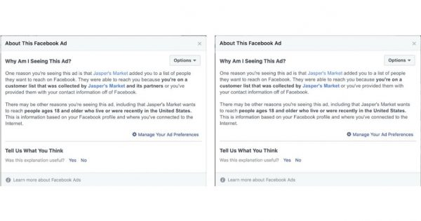 Facebook Is Giving Users More Details When Custom Audiences Are Used