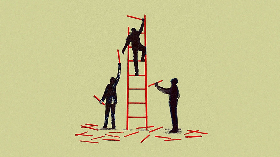 A man climbs a red latter; man on either side of the latter handing the climber pieces to build the latter taller
