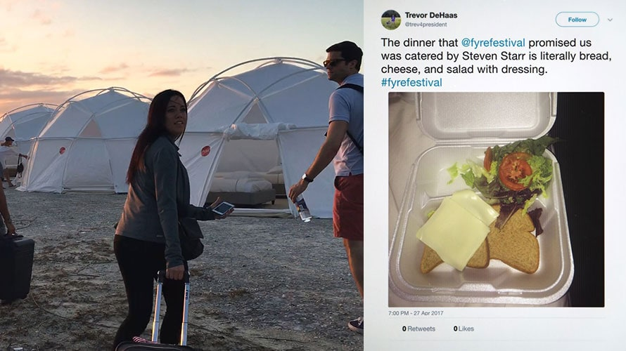 two pictures side by side; on the left a couple is at what they thought was Fyre Fest; on the right is a screen shot of a tweet showing the food at Fyre festival