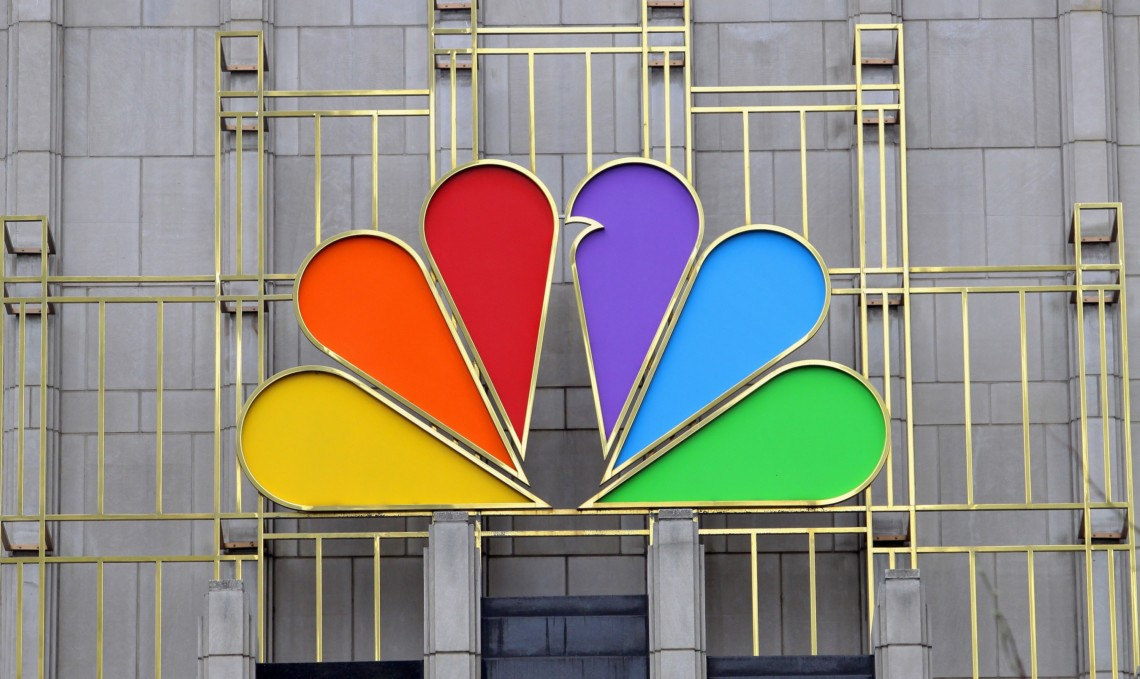 NBC logo as signage on building