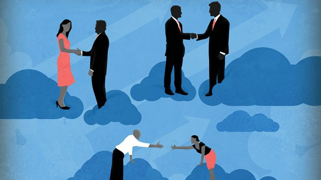 two people on different clouds shaking hands