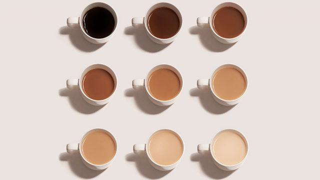 9 cups of coffee arranged in three rows of three; starting from the top left the cups of coffee go from black coffee to lighter coffee