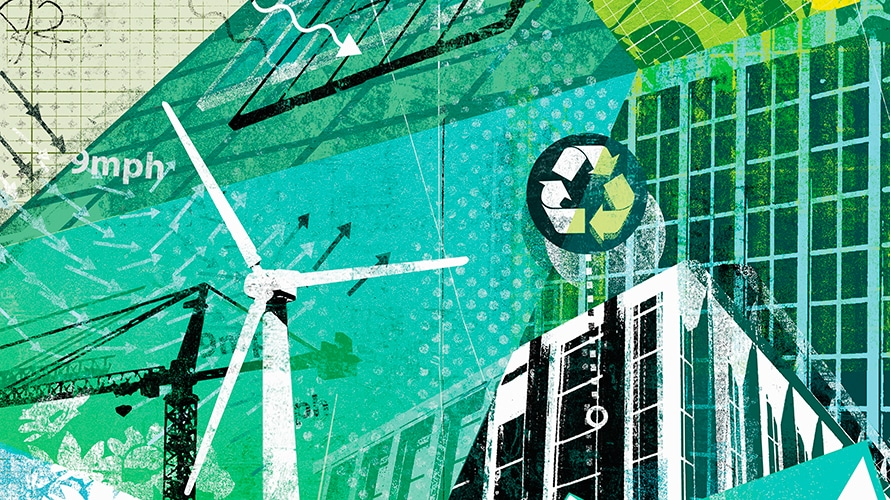 sides of a building; a wind turbine; The recycling logo