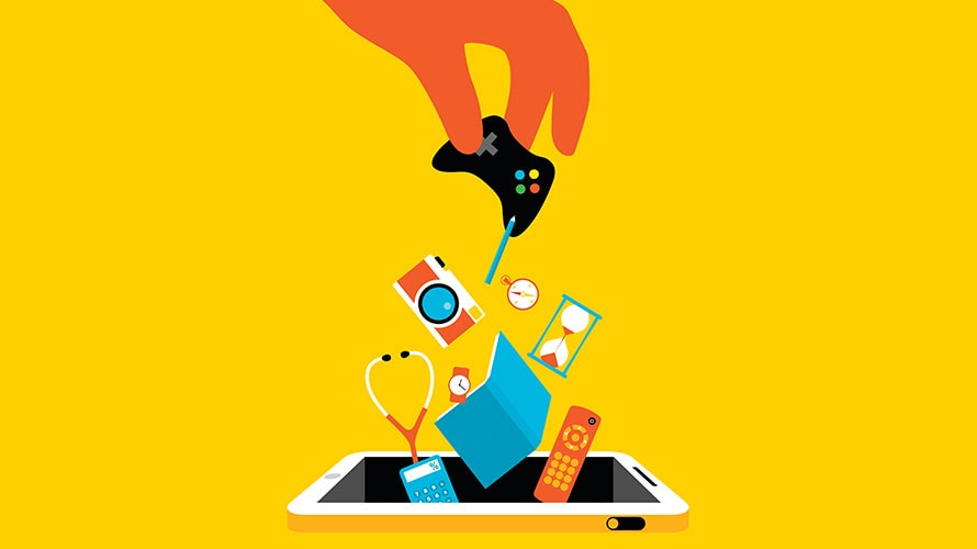 a hand drops various household objects into a smartphone; the objects include a video game controller; a camera; a wallet; a remote