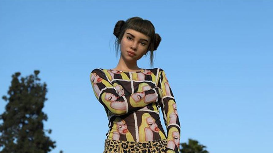 A girl modeling in a colorful dress; the image is created from CGI