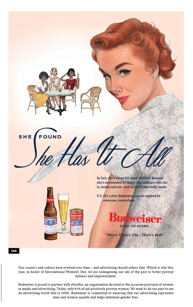 A Budweiser advertisement from 2019 is shown.