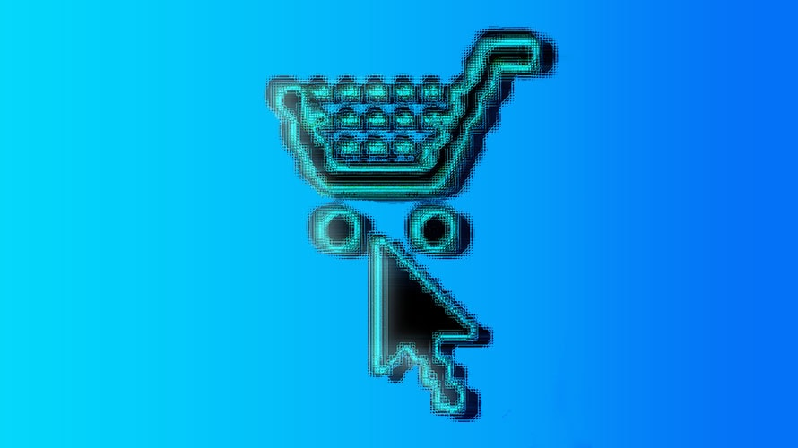 a pixelated image of a shopping cart with the cursor fo a mouse hovering over the shopping cart