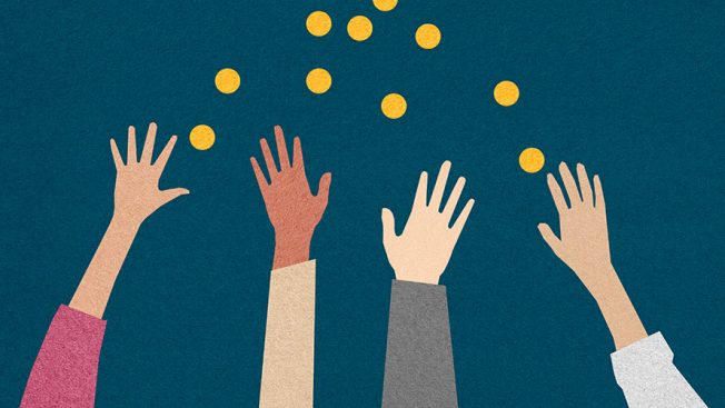 Four hands in the air; reaching for what appears to be gold coins; the background is blue
