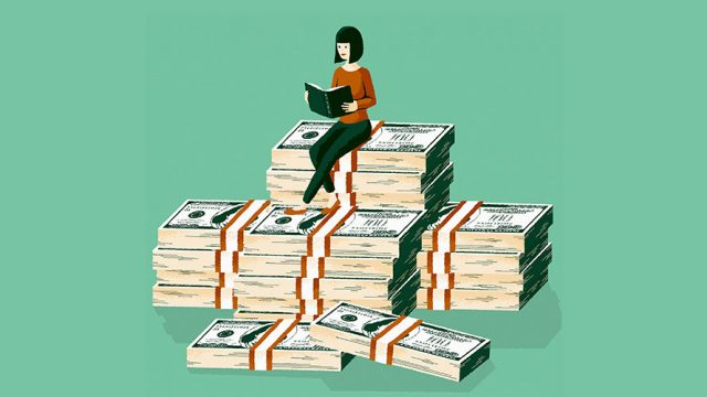 light green background; piles of stacks of money; on top of the well organized money is a woman reading a book
