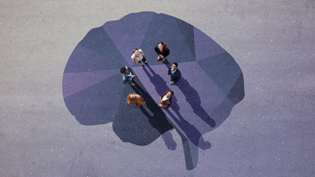 bird's eye view; six people rendezvousing in a circle to put their mind's together to solve problems
