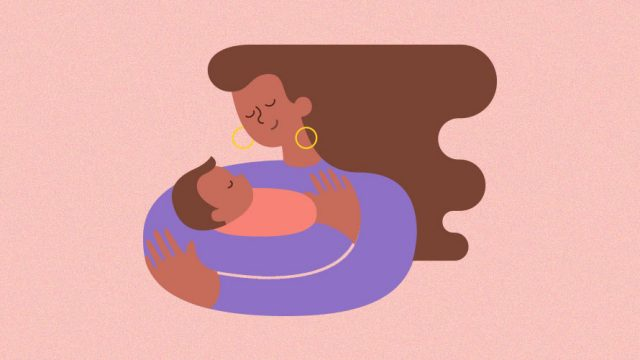 pink background; in the middle is a mother cradling her newborn baby