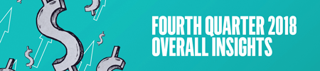 Teal background with silver dollar signs and white-outlined arrows. Text reads: Fourth Quarter 2018 Overall Insights.