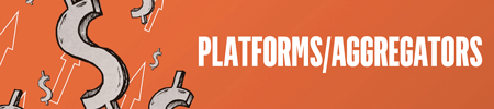 Orange background with silver dollar signs and white-outlined arrows on the left. Text reads: Platforms/Aggregators.