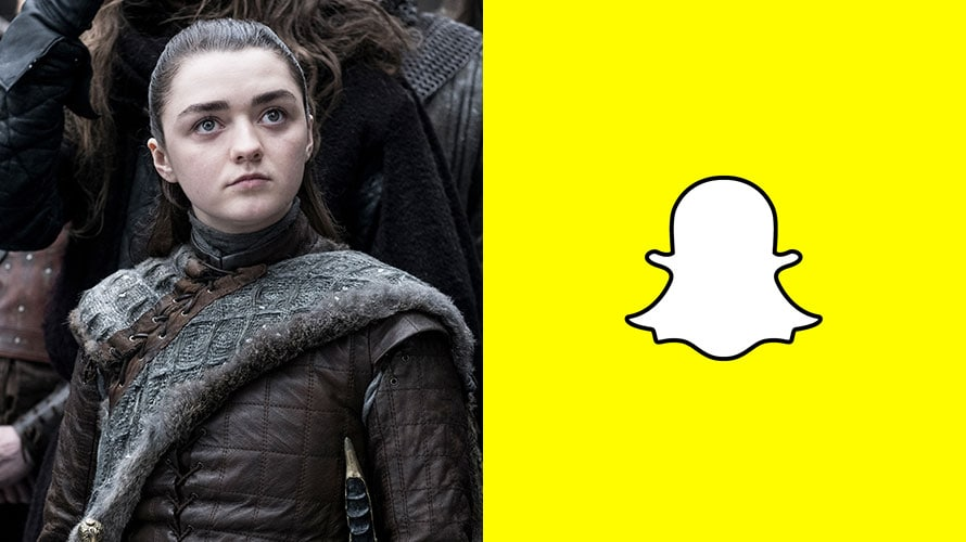 Arya Stark from Game of Thrones next to the SnapChat logo
