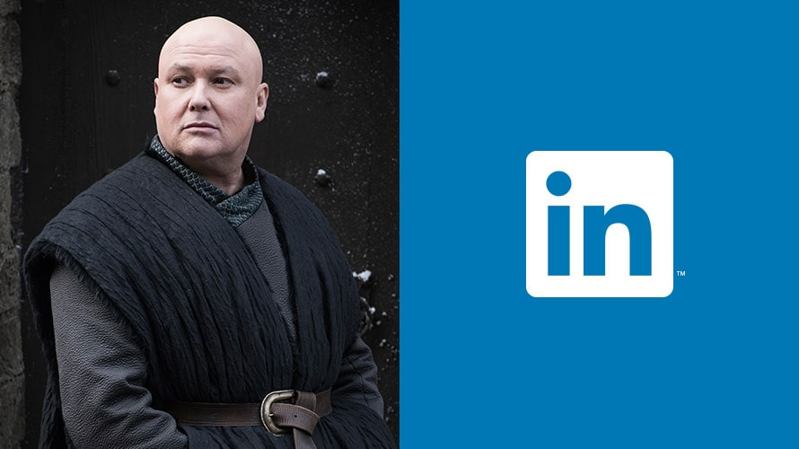 Varys from Game of Thrones next to the LinkedIn logo