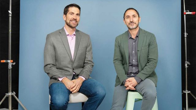 Photo of two men; David Droga is on the right.