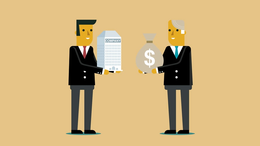 "On the left is a man holding a building that says ""company""; on the right is a man in a suit holding a bag with a money sign on it."