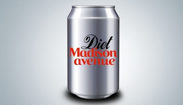 Silver soda can with black and red script reading Diet Madison Avenue.