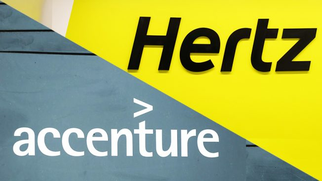 The Hertz logo and the Accenture logo are positioned side by side.