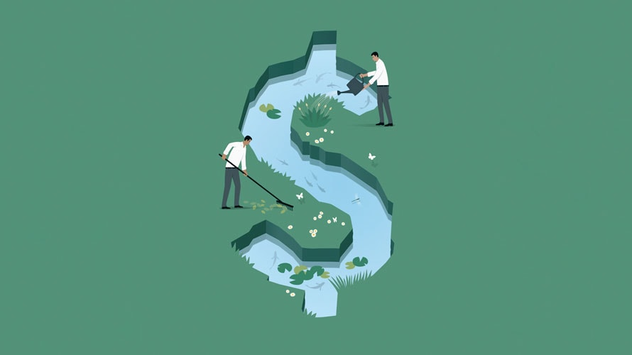 A dollar sign is carved into the grass and filled with water; two people are seen maintaining the dollar sign with their rakes