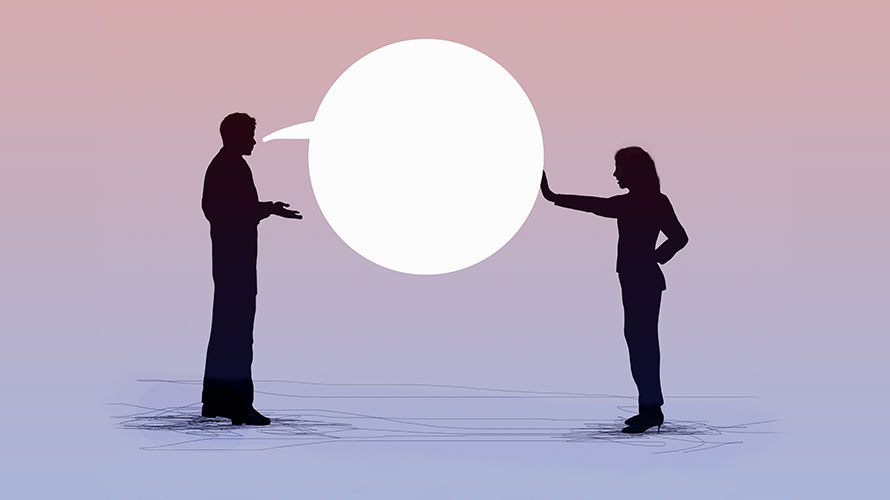 A white massive speech bubble is in the middle; on the right a man is talking to a woman on the other side; the woman is pushing against the speech bubble