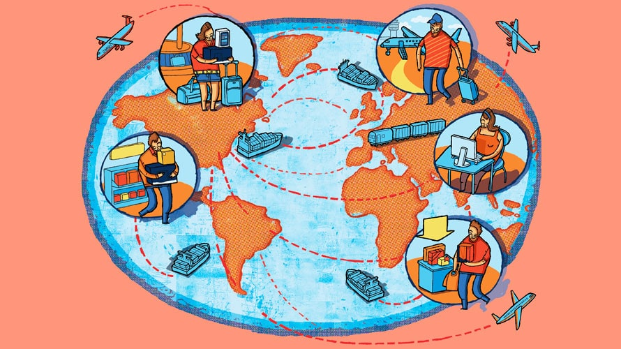 A picture of the globe; on each continent there are people traveling by various means of transportation