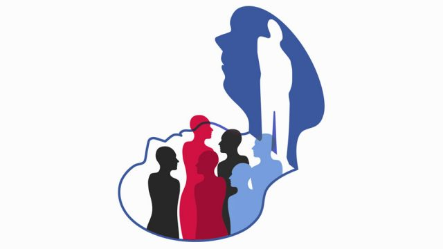 There is a blue head with a white outline of person in the head; there is a reflection of the head and people popping out of the head