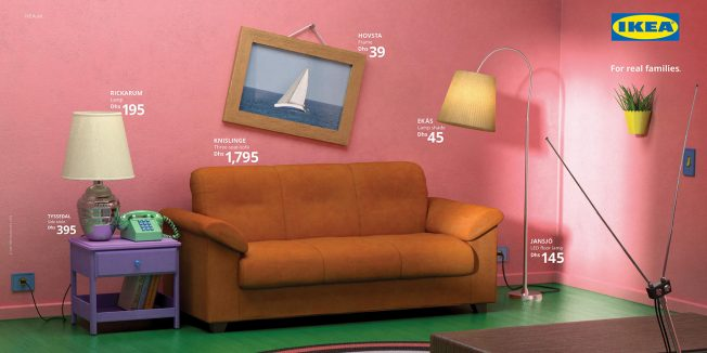 This Ikea setup resembles the Simpsons living room.