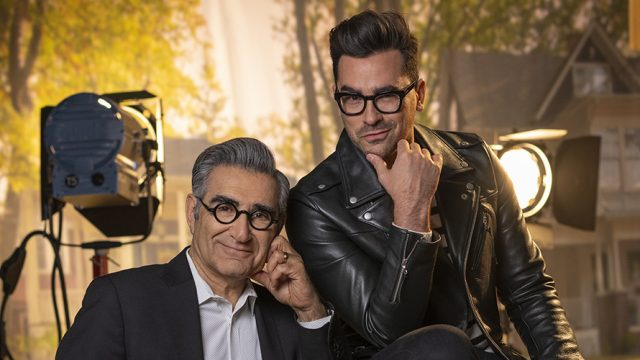 Photo of Eugene Levy and Daniel Levy, co-creators and co-stars